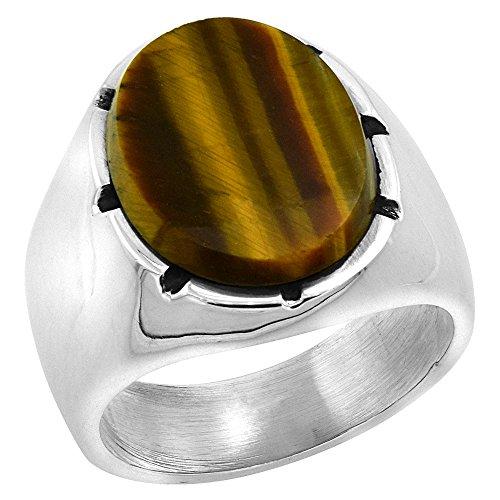 Sterling Silver Tiger Eye Ring for Men Large Oval Notched Bezel Solid Back Handmade, size 12