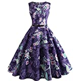 Dressffe Audrey Hepburn Dresses for Women, Floral Vintage Pleated Sleeveless Summer Purple Dress with Sashes, O-Neck (L)