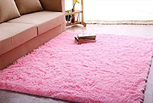 picture of ACTCUT Super Soft Modern Shag Area Silky Smooth Kids Room Rugs Living Room Carpet Girls Room Rug Bedroom Rug for Children Play Solid Home Decorator Floor Rug and Carpets 4- Feet by 5- Feet (Pink)