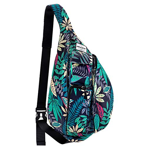 (HAWEE Bike Backpack Chest Sling Bag Sports Travel Crossbody Daypack for Women, Black + Colored Maple Leaf)