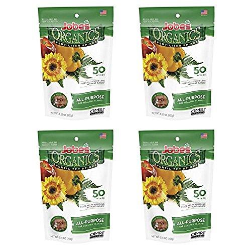 Jobe's Organics All Purpose Fertilizer Spikes, 4-4-4 Organic Time Release Fertilizer for All Plants, 50 Spikes per Package - (4 ()