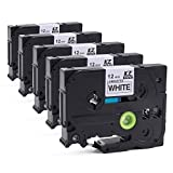 TZe Tape for Brother P-touch Cube PTD600, PTD400AD, PT-D210 Label Maker, Standard Laminated TZe-231 TZ231 1/2 Inch (0.47 Inch) Black on White, 26.2 Feet (8m) Roll, 5-Pack