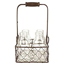 Blossom Bucket Rustic Four Glass Bottles in Wire Baskets, 4.75-Inch by 9-Inch