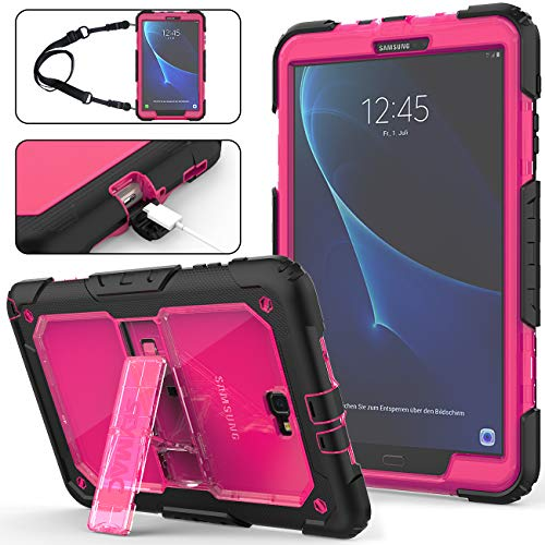 Galaxy Tab A 10.1 T580/T585 Case (NOT Fit Any Other 10.1 Tab), Full-Body [Heavy Duty]&[Shock Proof] Hybrid Armor Protective Case with Stand & Strap for Galaxy Tab A 10.1'' SM-T580/T585 (Rose+Black) (Samsung Galaxy Note 10-1 2014 Edition Model Number)