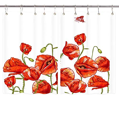 DYNH Watercolor Flowers Kitchen Curtains, Poppies of Spring Season Red Floral Bouquet Field Nature Theme Window Curtain Valance, Waterproof Kitchen Curtains Drapes10PCS Hooks 55X39 in Whtie (Valance Floral Fields)