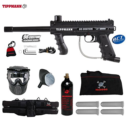 Tippmann 98 Model Accessories (MAddog Tippmann 98 Custom ACT Beginner CO2 Paintball Gun Starter Package - Black)