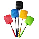 Compia 73cm Convenient Practical Plastic Telescopic Extendable Retractable Handle Fly Swatter Prevent Pest Mosquito Tool--Color Random