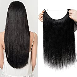 "Hair Extensions Human hair Jet Black Invisible Wire Hidden Hair Pieces Straight Fish Wire Hair Extensions Headband No Clips 18""-65g"