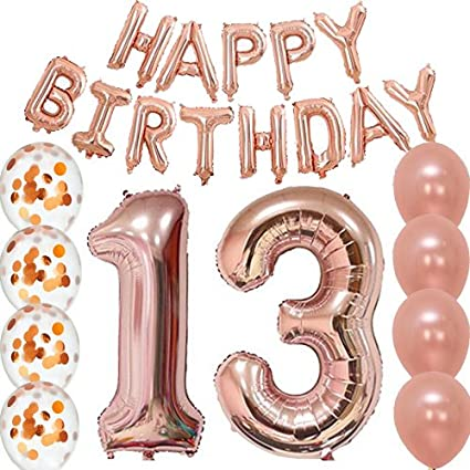 13th Birthday Decorations Party Supplies Balloons Rose Gold13th Banner