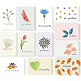 Sympathy Cards - 48-Pack Sympathy Cards Bulk, Greeting Cards Sympathy, Watercolor Floral Foliage Designs, Envelopes Included, Assorted Sympathy Cards, 4 x 6 inches