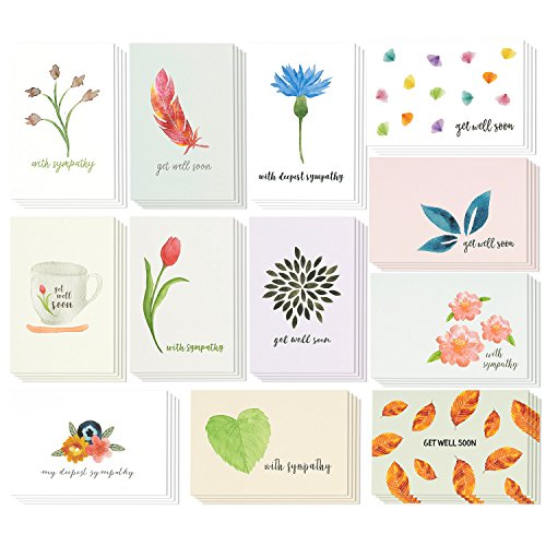 48 Pack Get Well and Sympathy Greeting Card Assortment - Condolence Note Cards Bulk Box Set - Watercolor Floral Foliage Designs - Set of 48 Cards with Envelopes Value Pack - 4 x 6 Inches