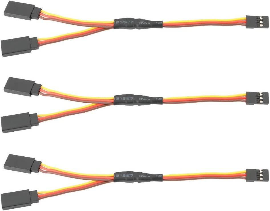 TOOHUI 3Pcs 150mm Cable de Extensión Servo Y Divisor para JR Futaba RC Accesorios, Extensión Wire para RC Coche Avión Helicóptero Drone, Expert Electronics Harness(un Macho a Dos Conectores Hembra)