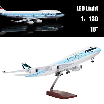 "24-Hours 18"" 1:130 Scale Model Private Jet Model HK Cathay Pacific B747  Planes Model Kits Display Diecast Airplane for Adults with LED Light(Touch"
