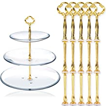 Surepromise 5 Sets 3 Tiers MINI Design Cake Plate Stand Handle Fittings Gold Flower Style