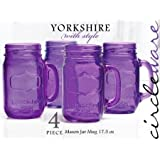Circleware 4 Piece Mason Jar Mugs (17.5 oz ea) Purple