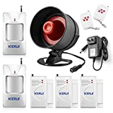 KERUI Standalone Home Office & Shop Security Alarm System Kit, Wireless Loud Indoor/Outdoor Weatherproof Siren Horn with Remote Control and Door Contact Sensor,Motion Sensor,Up to 110db