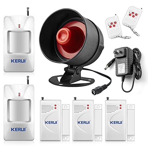 Home Alarm Sirens (KERUI Standalone Home Office & Shop Security Alarm System Kit, Wireless Loud Indoor/Outdoor Weatherproof Siren Horn with Remote Control and Door Contact Sensor,Motion Sensor,Up to 110db)