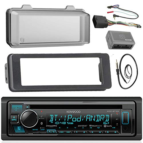 (Kenwood Stereo CD Receiver Radio - Bundle with Installation Dash Kit, Handle Bar Control Module, Weathershield Cover, Enrock Wire Antenna for 1998 2013 Harley Touring Motorcycle Bikes)