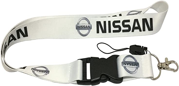 Coloryard 1pcs White Color USA Ship New Quick Release Neck Strap Lanyard Keychain Keyring Car Keys House Keys ID Badges Card For Nissan Design