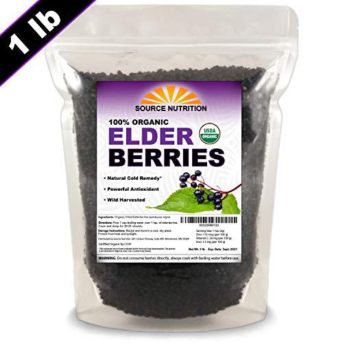 Organic Elderberries - Grown 100% Natural, Whole European Elder Berries, Responsibly Wild Crafted - Sambucas Nigra (1 Pound) - Bulk Resealable Bag (Certified Organic)