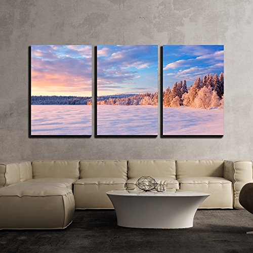 a Beautiful Lake in Finnish Lapland in Winter x3 Panels