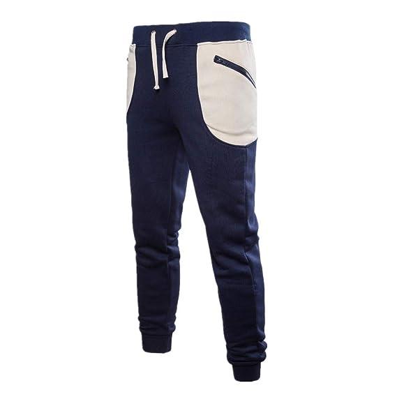 ZODOF Pañuelo de Bolsillo Grande con Pantalones Pantalones de chándal de Color Puro para Hombre Pantalones de pantalón Casual de Trabajo Deportivo Casual de ...