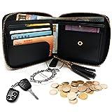 NEWANIMA Coin Purse Leather Foldable Women Zipper Wallet Short Bag Pocket Card Holder With Tassels (Black)