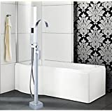 Rozinsanitary New Square Style Bathtub Faucet Single Handle Mixer W/ Hand Shower Floor Mounted