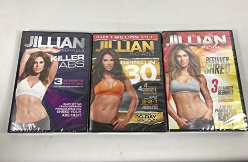 3 Pack DVD set Jillian Michaels Killer Abs, Beginners Shred, Ripped In 30 (Jillian Michaels Ripped In 30 Level 2)