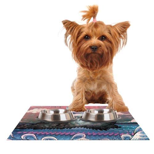 Kess InHouse Mat Miller Lone Wolf  Feeding Mat for Pet Bowl, 18 by 13-Inch