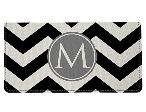 Personalized Monogram Black Grey Chevron Checkbook Cover ()