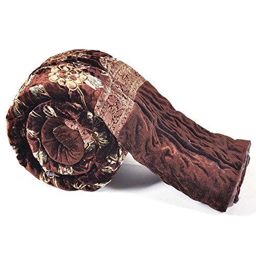 E-Tailor 152 TC Twin Size Floral Gold Print Jaipuri Single Bed Velvet Quilt Brown 90x60 - Jaipuri Velvet