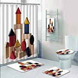 5 Piece Banded Shower Curtain Set Isolated Shot of Home Building Wood Blocks on White Decorate The Bath