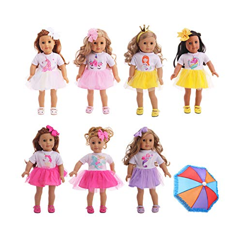 Trendypie 7 Pcs Unicorn Doll Dress Clothes Doll Outfits Costumes with Doll Hair Clips and Doll Umbrella Compatible for American 18 Inch Girl Dolls Christmas Birthday Gift (Unicorn Dress-7 PCS) (American Doll Party Supplies)