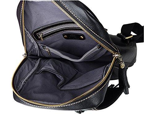PIJUSHI Fashion Women Leather Backpack Designer Backpack For Girls Travel School Bag 8823 (Black) by PIJUSHI (Image #6)