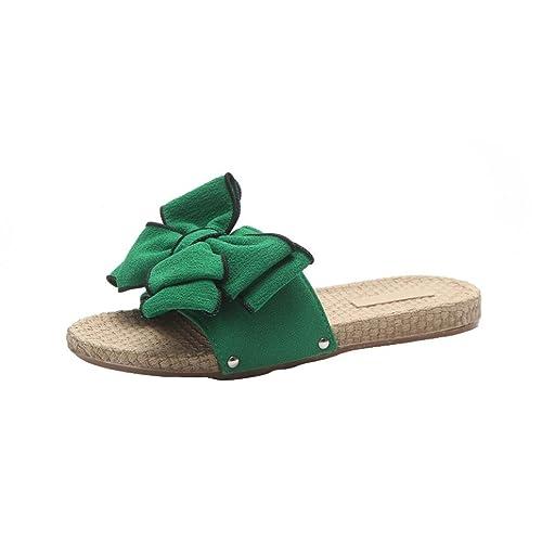 TPulling Sommer Damen﹛Bow Schlichte Wohnung Sandaletten﹜Keile Sandalen und Hausschuhen﹛Flip-Flop Slipper Strand﹜Plattform Beiläufige Wildleder Outdoor Party Nackte Schuhe (37=EU:36, Schwarz)
