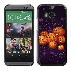 HTC One M8 - Metal de aluminio y de plástico duro Caja del teléfono - Negro - Halloween Friendly Pumpkins