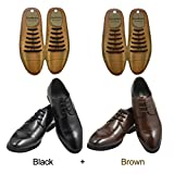 SENT CHARM No Tie Dress Shoe Laces for Men/Women Elastic Rubber Silicone Formal Oxford Shoelaces Best for Dress Shoes Oxford Shoes (Black+Brown)