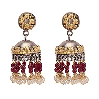 f2f3181d3 Buy Missori two tone Gold Plated Jhumkas in Sterling Silver Online at Low  Prices in India | Amazon Jewellery Store - Amazon.in