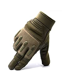 Touch Screen Sport Men Leather Gloves for Winter with Joint Protection and Adjustable