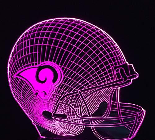 (KLSOO Los Angeles Rams Football Cap Helmet 3D Led Color Changing Decor Night Light Touch)