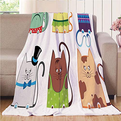 Blanket Comfort Warmth Soft Cozy Air Conditioning Fleece Blanket Perfect for Couch Sofa Or Bed,Cat,Cute Cat Illustration Series with Different Fashion Styles Females Trendy Pets Little Paws,Multi,59 (Throw Series Fleece Blanket)