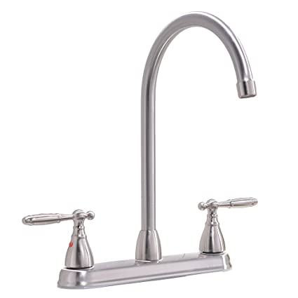 Ikebana High Arc Swivel Spout Brushed Nickel Two Handle Kitchen Faucet Stainless Steel Kitchen Sink Faucet Without Side Sprayer And Water Supply