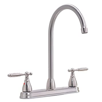 Ikebana High Arc Swivel Spout Brushed Nickel Two Handle Kitchen
