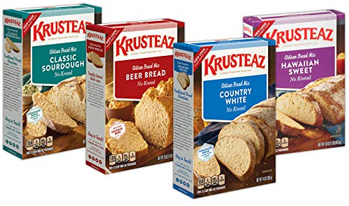 Krusteaz Bread Mix Variety Pack: Beer Bread, Country White Bread, Hawaiian Sweet Bread and Sourdough Bread (Bundle of 4)