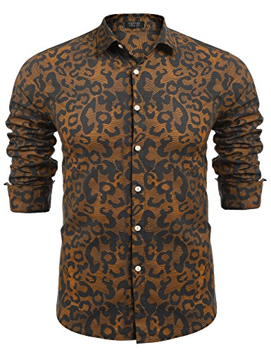 [Coofandy Men's Fashion Print Casual Long Sleeve Button Down Shirt, Black, Large] (60s Fashion Mens)
