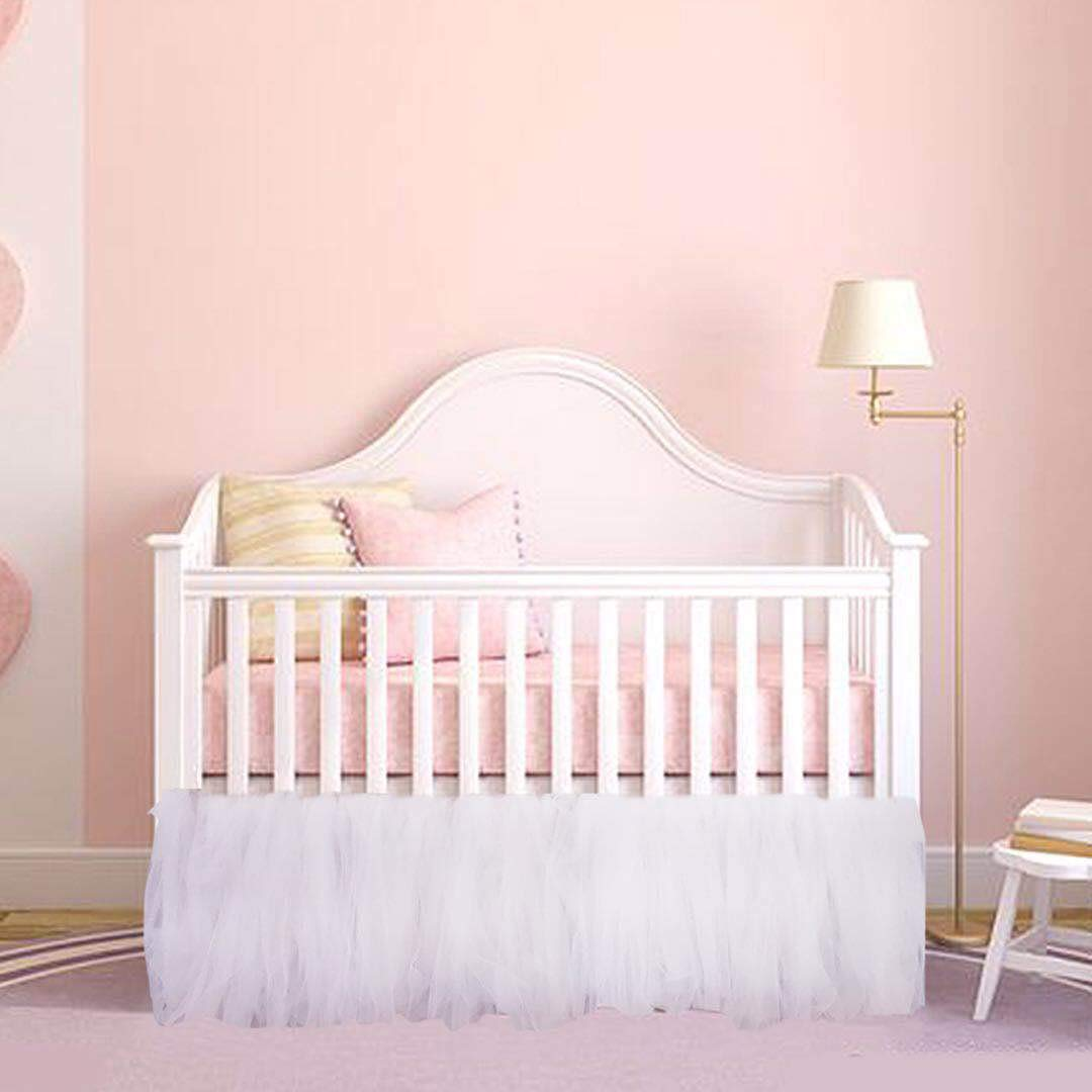 CO-AVE White Crib Skirt Baby Ruffle Baby Bed Skirt Portable Tulle Tutu Crib Skirt Handmade for Boys or Girls Birthday Party,Baby Shower &Baby Room Decoration,16'' Drop,One Side by CO-AVE (Image #6)
