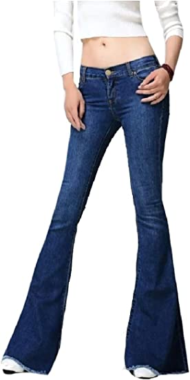 Nicellyer Women's Trumpet Denim Trousers Palazzo Wide Leg Stretch Jeans