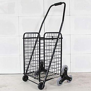 EETYRSD Carrito de compras plegable portátil pequeño carrito que sube escaleras para comprar carritos de comida Carretilla de mano antigua carretilla trolley remolques de equipaje proceso de hierro re