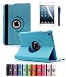 ipad 2 air case girls cool - Apple iPad Air 2 Case, CINEYO(TM) 360 Degree Rotating Stand Case Cover with Auto Sleep / Wake Feature for iPad Air 2 / iPad 6 (6th Generation) (Light Blue)